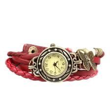 Vintage Wristwatch Butterfly Pendant PU Leather Watch <b>Women</b> ...