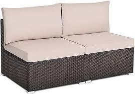 Tangkula 2 PCS Outdoor Wicker Armless Sofa, Patio ... - Amazon.com
