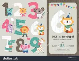 birthday anniversary numbers cute animals birthday stock vector birthday anniversary numbers cute animals birthday party invitation card template