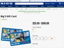 Big 5 Sporting Goods   Gift Card Balance Check   Balance Enquiry ...