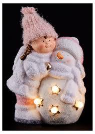 <b>Фигурка декоративная</b> «<b>Девочка</b> со снеговиком» LED, 19х12х21 см