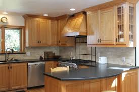 kitchen cabinets with granite countertops: contemporary maple kitchen cabinets in brown with black granite countertop and custom handle full