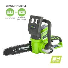 Аккумуляторная Цепная пила <b>Greenworks</b> G-24 24V (25 см ...