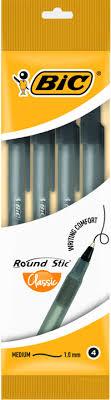 <b>Ручка шариковая BIC Round</b> Stic черная пауч 4шт 0,32мм 944177 ...