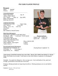 resume for college baseball player sample customer service resume resume for college baseball player baseball scholarships college baseball recruiting player resume examples athlete profile template