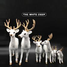 <b>ZLJQ</b> Christmas Decoration For Home White Simulation Deer Plush ...