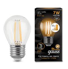 <b>Лампа Gauss LED Filament</b> Globe E27 7W 2700K step dimmable ...
