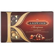 """<b>Шоколадные конфеты</b> А.Коркунов """"Ассорти"""" темный <b>шоколад</b> 192г"""