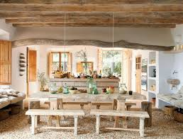 country living room ci allure:  large size rustic italian decor dining room with wooden table and benches pendant lights eposed beams