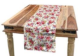 Lunarable <b>Floral</b> Table Runner, Old Fashion <b>Rose Flower Pattern</b> ...