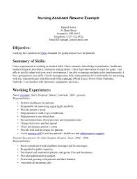 cover letter nursing assistant resume certified nursing assistant cover letter certified nursing assistant resume examples exampl cna sle objective entry level certified xnursing assistant