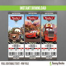 disney cars lightning mcqueen and mater vip pass birthday cars birthday ticket invitations mcqueen mater and mack