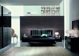 modern master bedroom decorating design ideas with black furniture also with big white bookself on the black furniture room ideas