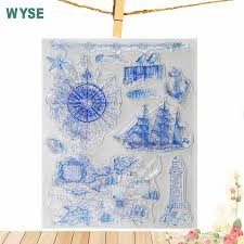 Sea map Transparent Clear stamps Anchor steering wheel <b>rubber</b> ...