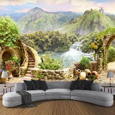 <b>Custom</b> 3D <b>Photo Garden</b> Balcony Mountain Waterfall Green ...