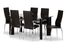 faux leather dining chair black: bowen boston cm glass dining table and  brown faux leather