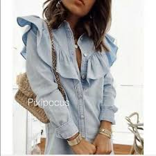 Zara рубашка воротник джинсовая <b>мини</b>-<b>платье</b> лацкан воротник ...