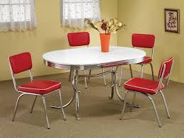 1950s Dining Room Furniture Retro 1950s Style 5pc Vintage Look Dining Set Red And Chrome