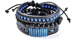 Herinos <b>3PCS Braided</b> Leather Bracelets Men Bangle Beaded ...