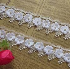 <b>10pcs</b> Pearl Flower <b>Lace</b> Edge Trim <b>Wedding Dress</b> Ribbon ...