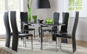 table chairs glass dining space black glass amp chrome extending dining table and  chairs set ce