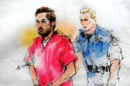 Sketch of suspect James Holmes being led into court on Monday. (REUTERS/Bill Robles)