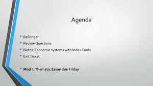 economic systems and theorists objective students will identify  agenda bellringer review questions notes economic systems with index cards exit ticket mod