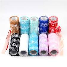 <b>15cm*10Y Snowflake Soft Fabric</b> Tulle Roll Tutu Skirt DIY Gift Baby ...