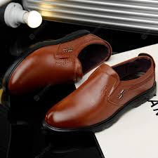 Men <b>Fashion</b> Casual Leather Shoes Soft Plus Size Hand Stitched ...