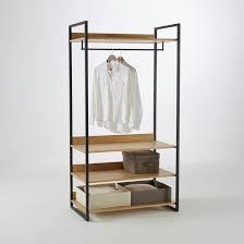 Module armoire large 3 étagères 1 penderie hiba bois/métal <b>La</b> ...