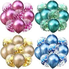 <b>10Pcs</b>/<b>lot Mixed</b> Confetti Metallic Pearl Balloons Birthday Party ...