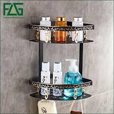 <b>FLG Bathroom Shelves</b> Dual Tier <b>Wall</b> Corner Mounted Storage ...
