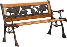 FDW Patio Garden Bench Park Porch Chair with Cast ... - Amazon.com