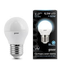 <b>Лампа Gauss LED Globe</b> G45 E27 6.5W 4100K купить по низкой ...