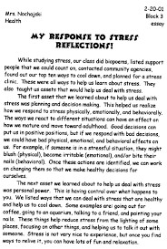 nylearnsorg   my response to stress by nysatl student    my response to stress   part a