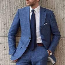 <b>New Arrival</b> Designs Blue <b>Beach</b> Linen <b>Men</b> Suit Slim Fit 2 Piece ...