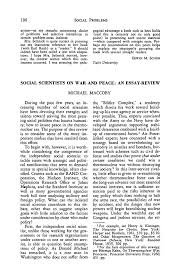 social scientists on war and peace an essay review  social problems pdf extract preview