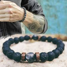 <b>Men's Natural Moonstone</b> Beaded <b>Bracelet</b>