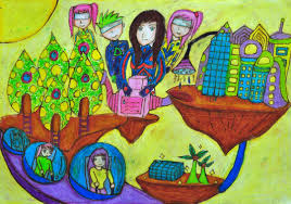 PUI CHI and GIGI LUI: INNOVATIVE SPACE CITY. My drawing shows a new world and the new future of us. All the people live in a clean and peaceful world. - 07_PUI_CHI__LUI_GIGI_1080