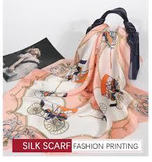<b>Luxury</b> Brand Women <b>Silk</b> Scarf Print <b>Satin</b> Square <b>Head Scarves</b> ...