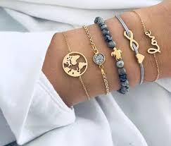 Stackable bracelet <b>5Pcs set</b> Bohemian Map <b>Heart Turtle</b> Charm | Etsy