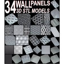 34pcs set wall decor panels 3d stl model for cnc artcam aspire mach3