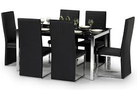 faux leather dining chair black: toronto black faux leather amp chrome dining chairs sale now on your price furniture