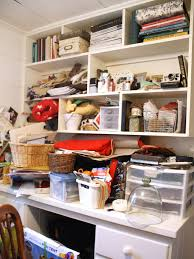 before a cluttered catchall chic organized home office