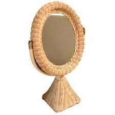 table mirror: french rattan and wicker table mirror