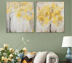 WJJ AtFipan <b>Unframed 2 Panel</b> Abstract Yellow leaf tree Canvas Art ...
