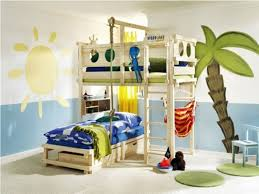 beauteous design ideas of children bedroom with white wooden bunk bed and blue green colors covered bedroom kids bed set