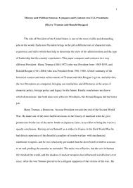 compare and contrast two u s  presidents   harry truman and ronald    compare and contrast two u s  presidents   harry truman and ronald reagan  essay example
