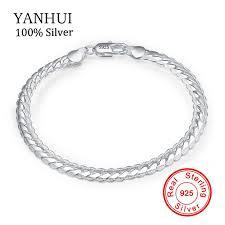 <b>YANHUI Original</b> Real <b>Solid 925</b> Sterling Silver Bracelets Fashion ...