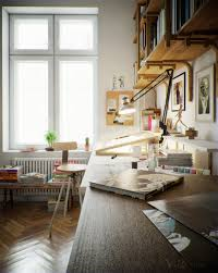 home studio home office with table lamp indoor plant glass window wood floor also wood chair beautiful home offices workspaces beautiful home offices workspaces beautiful